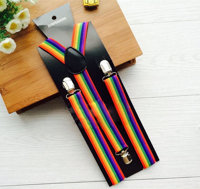 51146481e44 Hot unisex Men Women Suspenders Brace Clip Adjustable Elastic Rainbow  Stripe pants Trouser Clip BHH0097
