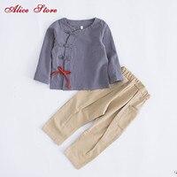 Cotone e lino vestito 2017 del bambino dei bambini ragazzi set di abbigliamento per bambini retrò fibbia vento Cinese a maniche lunghe pantaloni vestiti