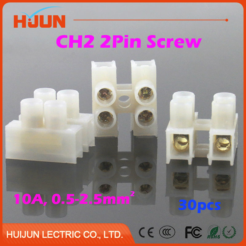 30pcs 2 Pin Connector Quick Cable Clamp Terminal Block Spring Connector Wire