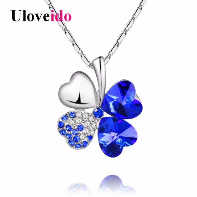 Uloveido Necklaces & Pendants for Women Silver Color Crystal Flower Necklace for Best Friend Gift Female Fashion siyecao