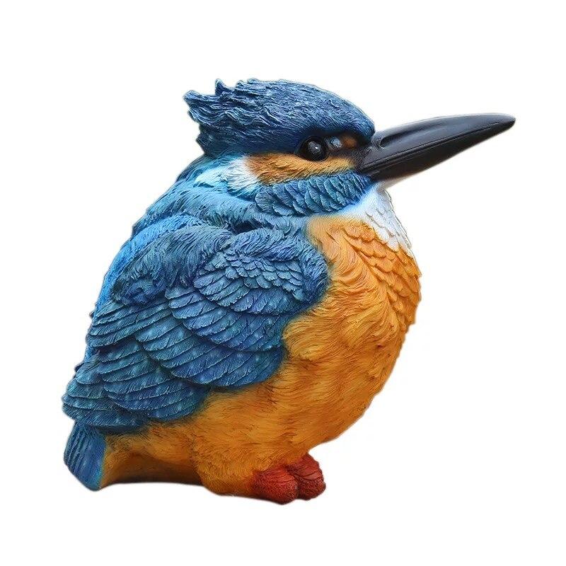 Couleur oiseau Simulation animal résine figurine décor à la maison artisanat jardin décoration artisanat kingfisher sculpture salle décorations