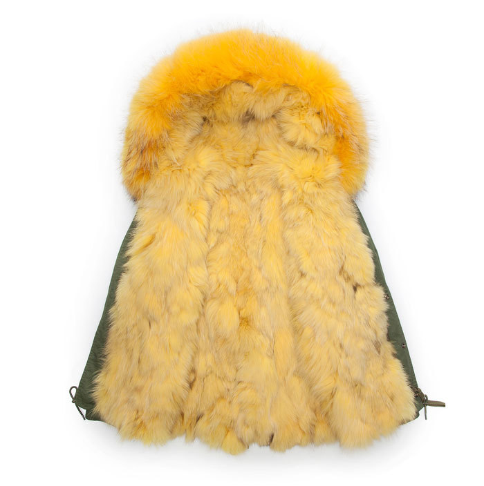 Yellow real fox fur collar lining jacket army green male fox fur parka men winter warm coat