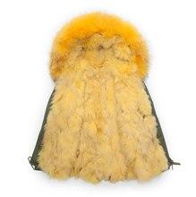 Yellow real fox fur collar lining jacket army green male fox fur parka men winter warm coat