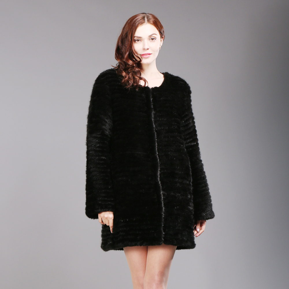 0f65611d9 New Hot Sale Winter Long Lady Knitted Real Mink Fur Coat Fashion Women Mink  Fur Overcoat Warm Soft 100% Natural Mink Fur Jackets-in Real Fur from ...