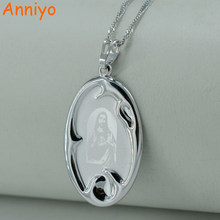 Anniyo High Quality Jesus Piece Pendant Necklace for Men/Women,Silver Color Christian Jesus Necklaces Worship Jewelry #006304(China)