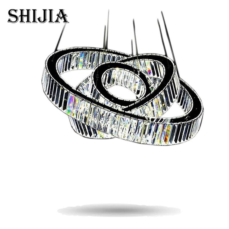 Hot sale 1 Ring 2 Ring 3Rings LED K9 Crystal Chandelier Light Lamp Lustres De Cristal Suspension Modern LED Light Fixture ...