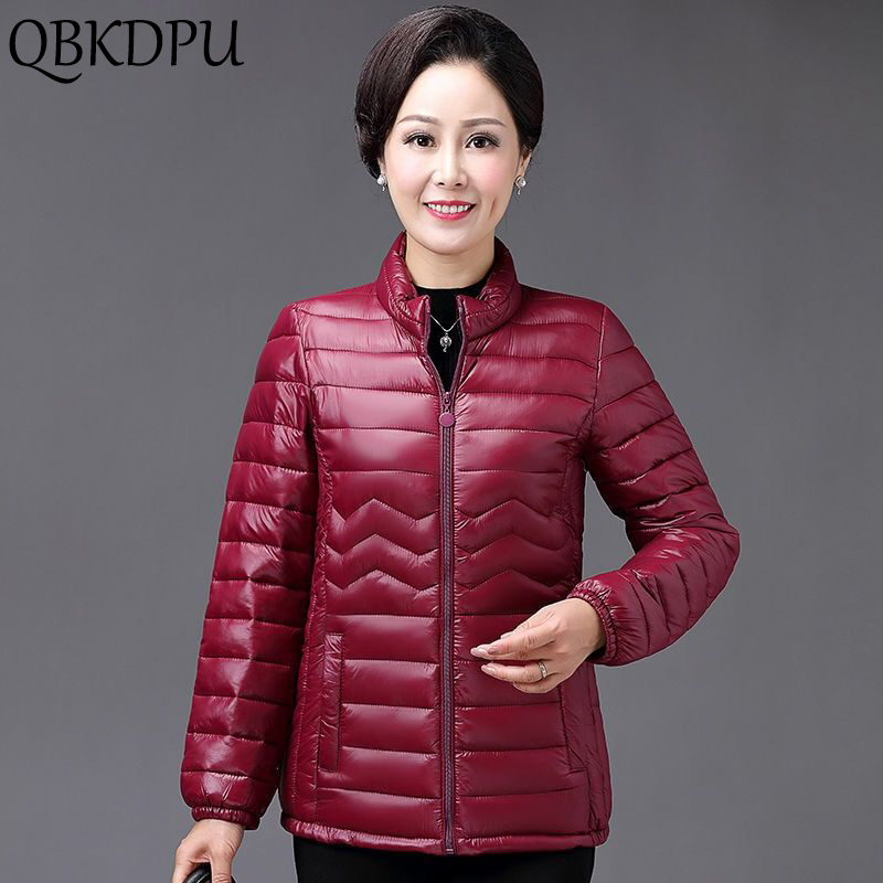 Mom's Thin Cotton Jacket Short Tops Winter Jacket Women Coat Korean Slim Plus Size Female Parka Coat Wave Pattern Padded Jacket