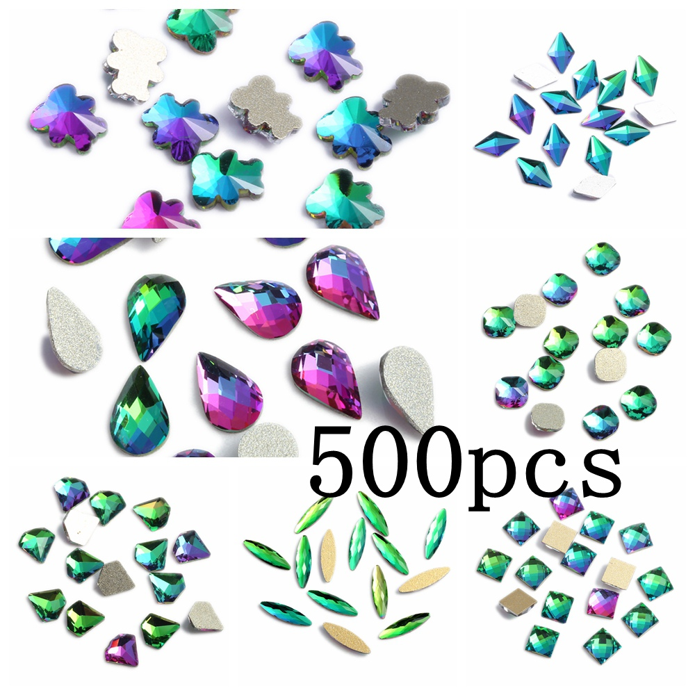 Nail Gems 500pcs Rainbow Glass Rhinestone For Nail Art Decorations Flatback Nail Stickers DIY Craft Art Charm Stones 1 5mm 2mm 3mm gold silver hot fix flatback half round nail art rivet punk rock style for 3d nail art decoration