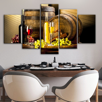5 Panels Grape Wine Canvas Art Wall Paintings For Bar Decor Kitchen Theme Decorative Canvas Prints Modular Picture Cuadros Decor