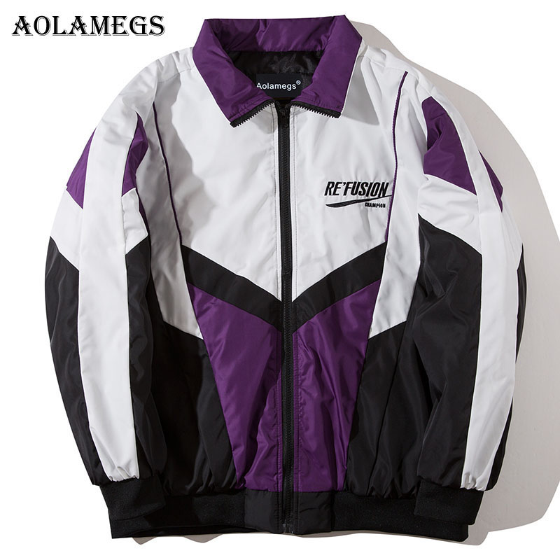 Aolamegs Parka Men Patchwork Letter Thick Mens Winter Jackets Mens Down Jacket Hip Hop Turn-down Collar Windproof Coat Mens