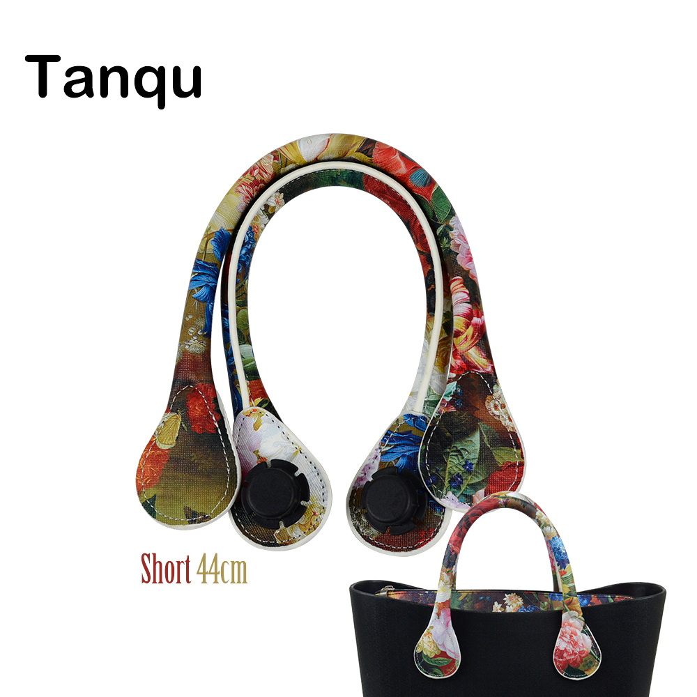 TANQU New 1 Pair Short Floral Print Soft Faux PU Leather Handle for Obag Classic Mini O Bag Women Shoulder Handbag pair of elegant faux gem zircon oval floral bracelet for women
