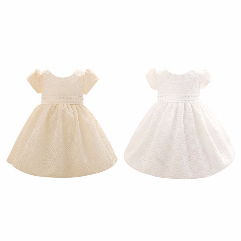 Newest Baby Girls Dresses Infant Kids Sleeveless Bowknot Princess Pageant Wedding Party Dress Lace Tutu Dress White Yellow 0-2Y