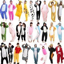 New Winter Adult Women Animal Pajamas Flannel Pajama Sets Halloween Hooded Sleepwear Homewear Unicorn Stitch Panda Zebra Pikachu