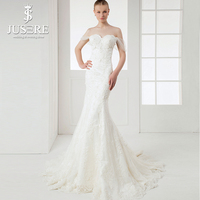 JUSERE Real Photos Off Shoulder Mermaid 3D Flowers Lace Hand Made Zipper Up Chapel Train Luxury Bridal Wedding Gown Dresses 2018