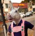 Máscara Frete Grátis Creepy Unicorn Cavalo Máscara Cabeça de cavalo Halloween Costume Teatro Prop Novidade Látex de Borracha Máscara Unicórnio