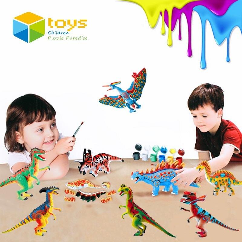 купить DIY Coloring Painting Animal Model Drawing Toys Graffiti Jurassic Dinosaur Creative Learning Educational Toys for Children Gifts недорого