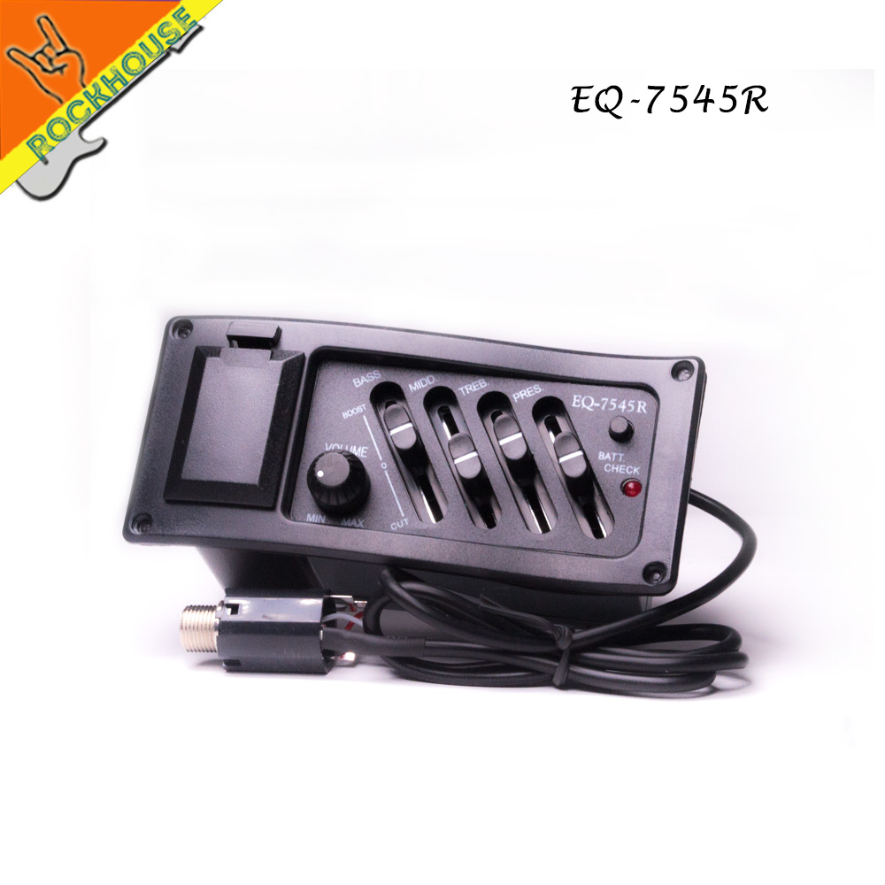 EQ 7545R Classic 4 Band Acoustic Guitar Pickup Pre-amp 1/4' Output Pick-up Equalizer Bass Middle Treble Presence free shipping belcat bass pickup 5 string humbucker double coil pickup guitar parts accessories black