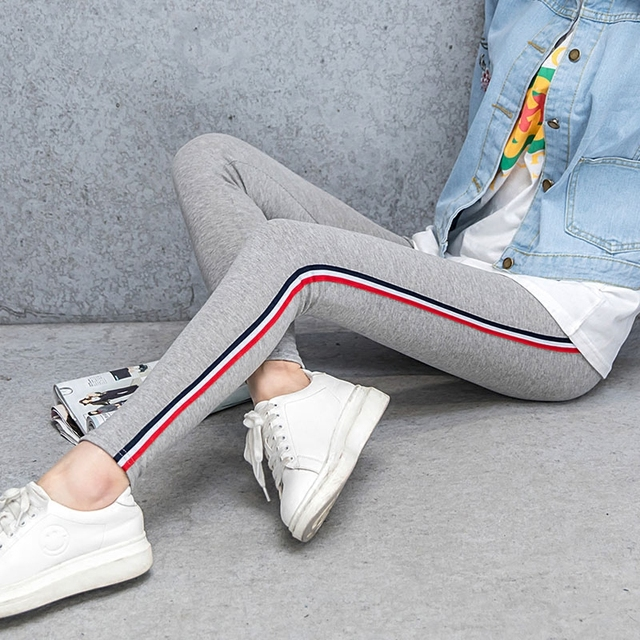 Spring Autumn Wild Vertical Stripes Leggings Women Thin Section Wear Sports Stretch Thin Large Size Nine Pants