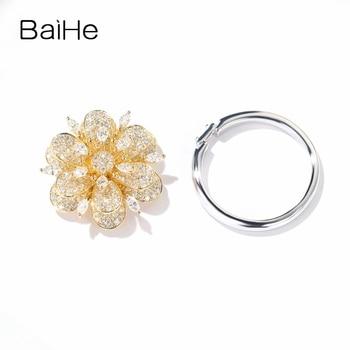 BAIHE Solid 14K Yellow Gold H/SI-SI3 Marquise Round Natural Diamonds Women Trendy Fine Jewelry Beautiful flower diamond Ring 2
