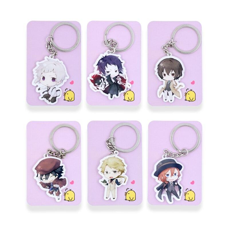 6PCS/lot Bungo Stray Dogs Keychain Nakajima Atsushi Edogawa Ranpo Key Chains Pendant Hot Sale Custom made Anime Key Ring SS1