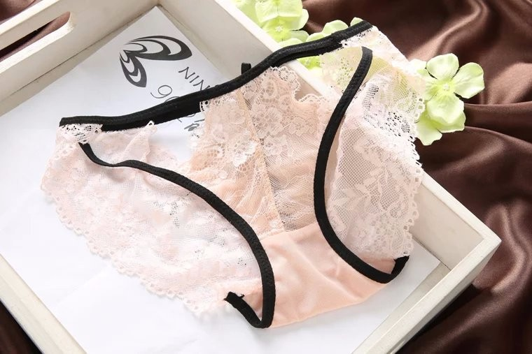 sexy cutout W wire breast thin lace bra push up young girl underwear lovely ladies bra and panties set 34