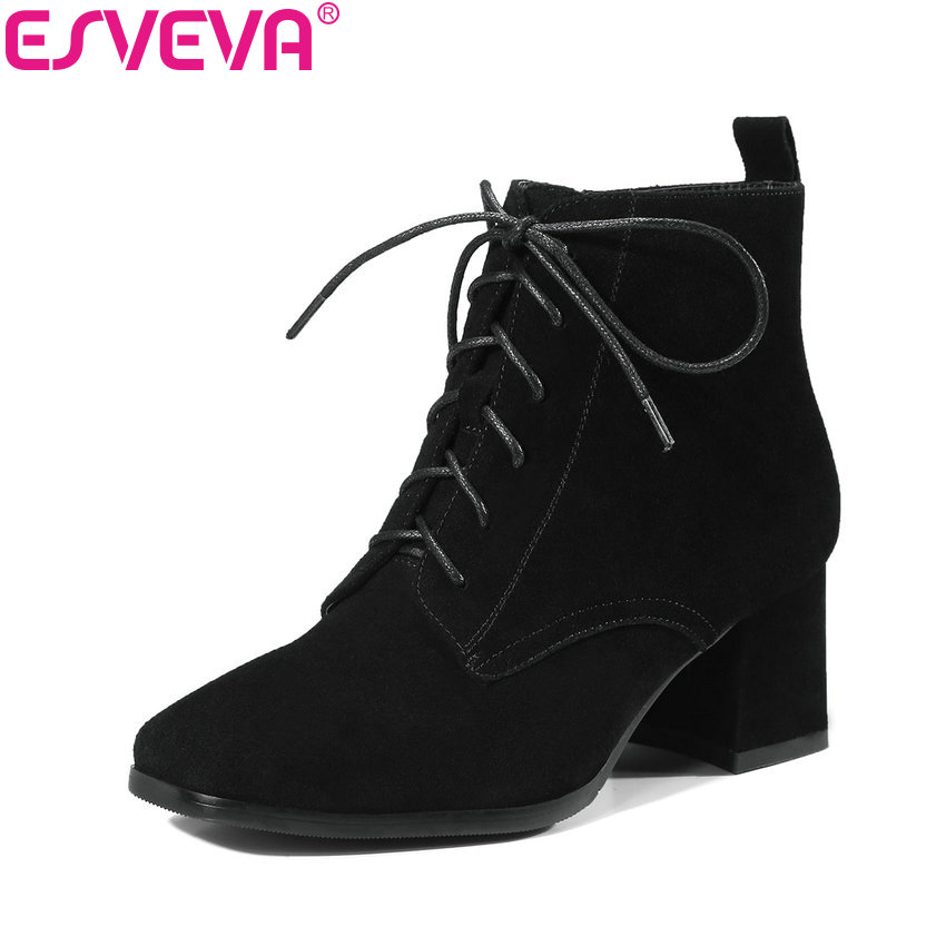 ESVEVA 2018 Women Boots Square Toe Western Style Autumn Spring Ankle Boots Cow Suede Square High Heel Ladies Boots Size 34-40 esveva 2016 sequined platform women boots autumn fashion boots wedges high heel leisure round toe ladies ankle boot size 34 39