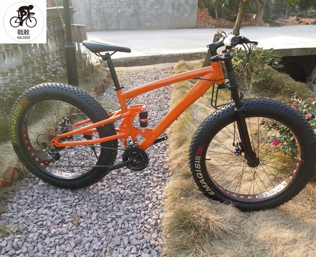 5bce5d99d77 Kalosse Full suspension Snow bike 27 speed mountain bike M4000 Groupset  26*4.0 tires Fat bicycle