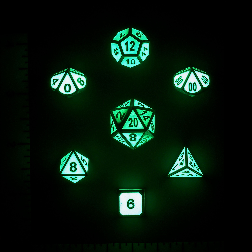 Build Your Own Dice Set - Metal Glow In The Dark Dice