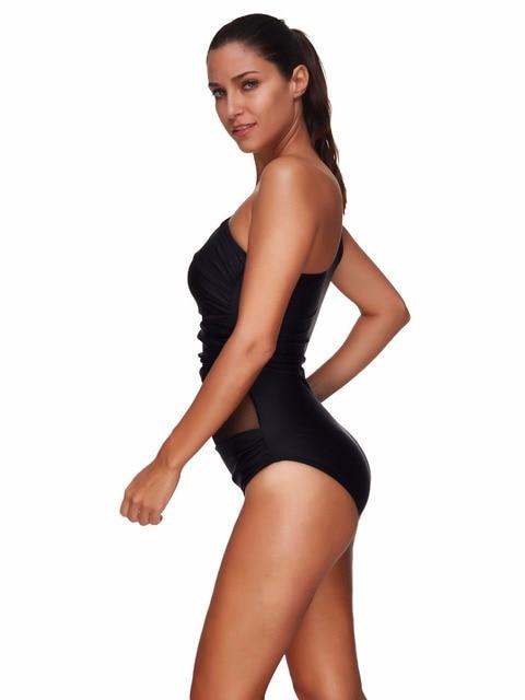 Nouveau Sexy Bandage maillot de bain maille maillots de bain femmes sangle unique une pièce maillot de bain costume de corps Trikini noir Monokini