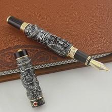 JINHAO pluma estilográfica, plumín ancho, dragón, PLAY THE PEARL, color grisfountain pen writingfountain penquality fountain pens