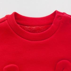 Image 4 - Balabala תינוקת 2 חתיכה מרופד פרווה תרמית 3D באני סווטשירט שמלה + למשוך על מכנסיים סט חורף תינוקות יילוד תינוק בגדים