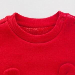 Image 4 - Balabala dziecko dziewczyna 2 sztuka z podszewką z polaru termiczna 3D Bunny bluza sukienka + Pull i staje w sytuacji sam na sam zestaw spodni zima niemowlę noworodka ubrania dla dzieci