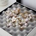 2015 Мода Длинная Цепь Розовый Цветок Имитация Жемчужное Ожерелье Для Женщин Свитер Цепи X031