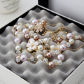 2015 Fashion  Long Chain  Pink Flower   Simulated Pearl Necklace For Women Sweater Chain   X031