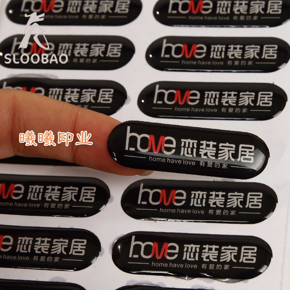 Free shipping 1000pcs Custom Customized Fashion custom clear epoxy resin sticker
