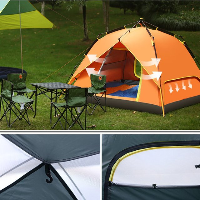 3-4 Persons Portable Fully Automatic Tent Rainproof Tent Double Layers Outdoor C&ing Hiking Fishing & 3 4 Persons Portable Fully Automatic Tent Rainproof Tent Double ...
