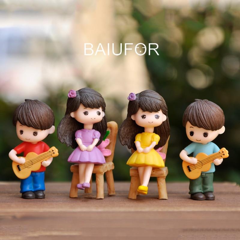 Baiufor Doll Couple Miniature Boy And Girl Lover Terrarium