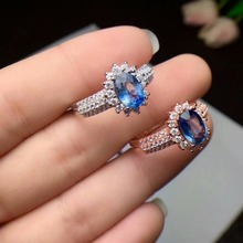 100% 925 sterling silver real Natural sapphire Rings fine Jewelry  women open wholesale new gift 5*7mm cj050709agl