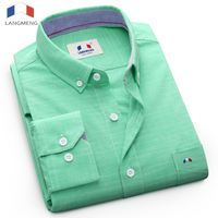 Langmeng 2017 Men Solid Casual Shirt Mens Long Sleeve New Brand Dress Shirt Top Quality Slim