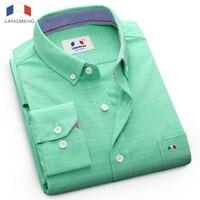 Langmeng 2017 Người Đàn Ông Rắn Giản Dị Áo Mens Áo Dài Tay New hiệu Dress Shirt Top chất lượng slim fit thiết kế kinh doanh Nam áo sơ mi