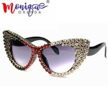 2018 Oversize Cat Eye lunettes de Soleil Femmes Marque Designer De Luxe  gradient diamant Lunettes de e28c797ea08