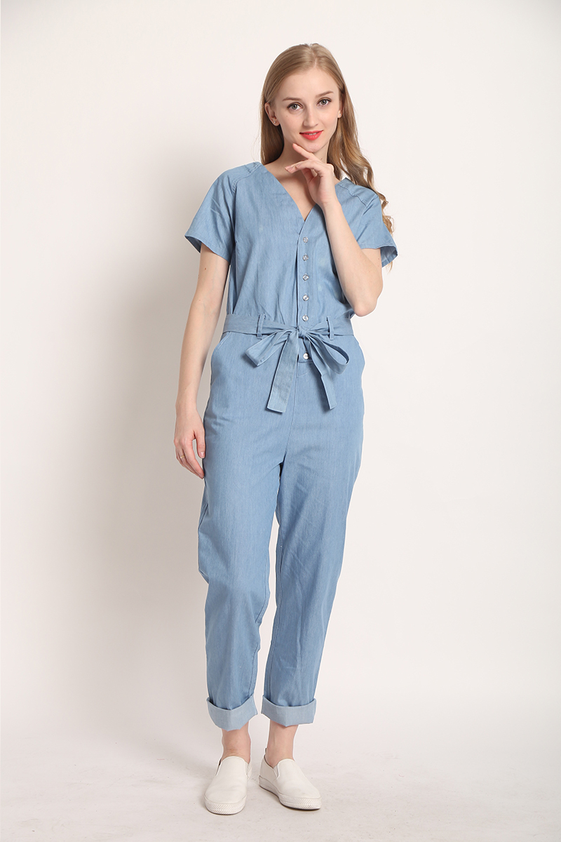 4197ea598bcd 2019 2017 Autumn Fashion V Neck Denim Overalls Women Jumpsuit Sexy ...