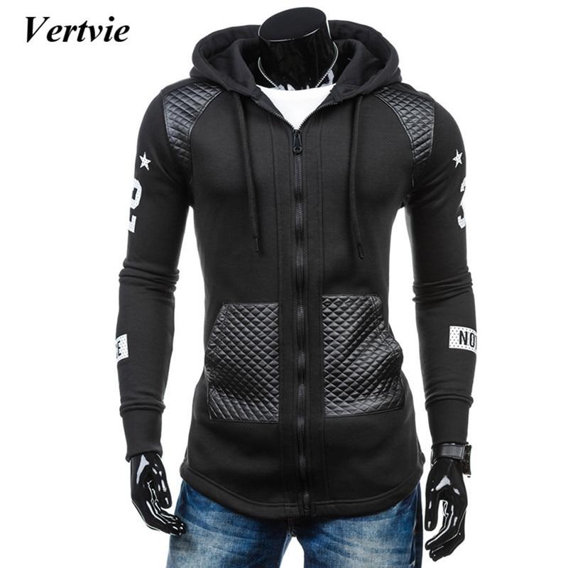 vertvie 2017 Autumn Zipper Hoodie Sweat Shirt Mens Patchwork Hoodies Hip Hop Hooded Pockets Striped Running Sportswear Jackets