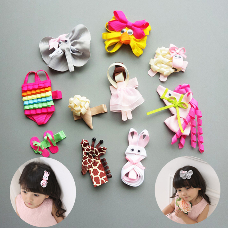 Character 2017 New Design Cute Animal Girls Hair Clips Cartoon Shape Hairpins Colored Swimsuits Grips In Kids Accessories