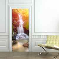 3D Wall Sticks Forest Waterfall Landscape Photo Wallpaper PVC Self adhesive Door Sticker Wall Mural Living Room Bedroom Home Dec