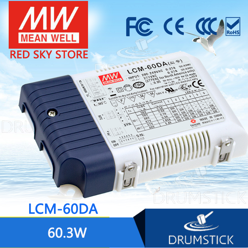 100% Original MEAN WELL LCM-60DA 42V 1400mA meanwell LCM-60DA 60.3W Multiple-Stage Output Current LED Power Supply [Hot1]