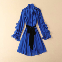 GoodliShowsi 2019 Spring Blue Dress Women Long Sleeve Elegant Bow Collar Lacing Belt Ruffle Dress