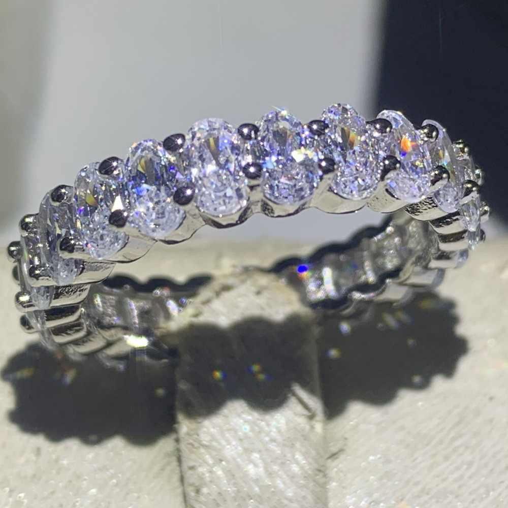 Funkelnden Deluxe Schmuck Marke Neue 925 Sterling Silber Oval Cut 5A Zirkonia Paar Ringe Eternity Hochzeit Braut Ring Set