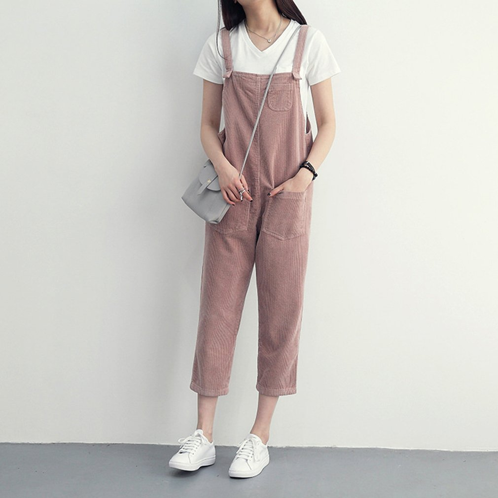 Women's Students Corduroy loose   Jumpsuit   Spring Autumn Suspenders Trousers Women Solid Color Pant Overalls for Female