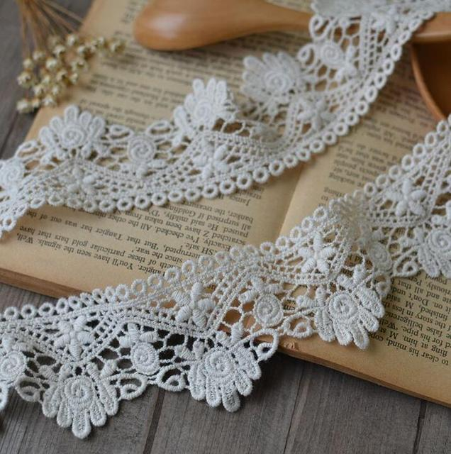 2 Meterslot 55cm Width 100 Cotton Crocheted Lace Trim Flower